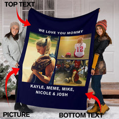 Lovely Softball Blanket for Mom Personalized - GFI0004P2a