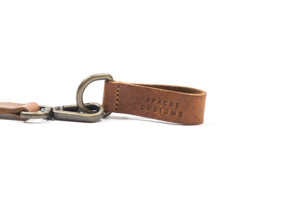 LEATHER KEYCLIP DOUBLE - BROWN