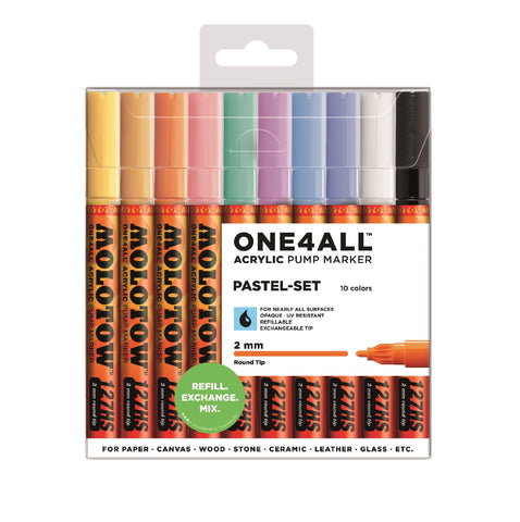 MOLOTOW SET CON 10 MARCADORES ACR͍LICOS ONE4ALL 127HS 2MM SET PASTEL
