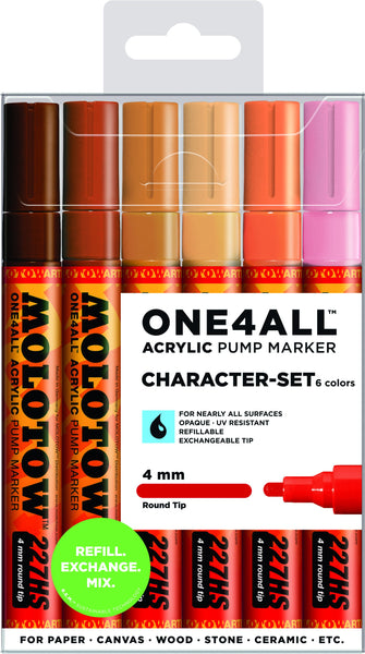 MOLOTOW SET CON 6 MARCADORES ACR͍LICOS ONE4ALL 227HS 4MM SET PERSONAJES