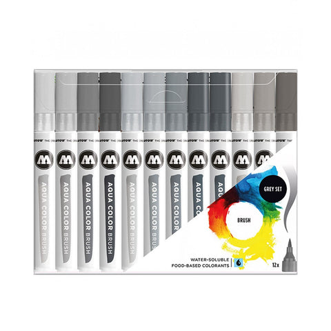 AQUA COLOR BRUSH GRISES CON 12 PZAS.