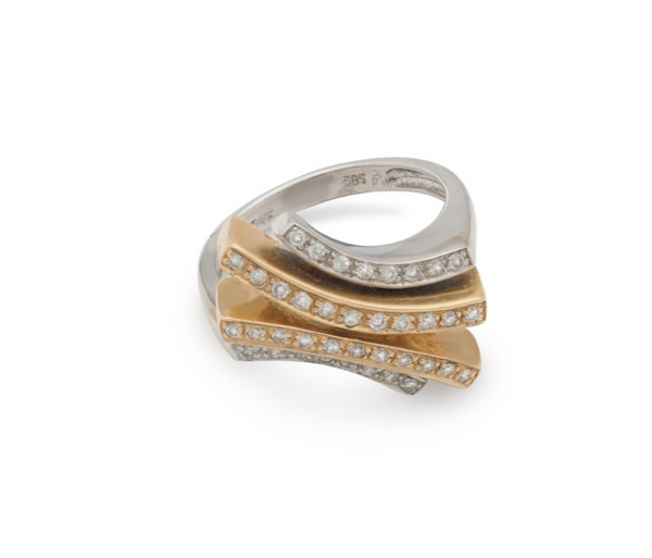 Estate Vintage 14 kt White and Yellow Gold Diamond Designer Cocktail Ring - Perfect for a Dinner Holiday Birthday or Anniversary Size 6.5