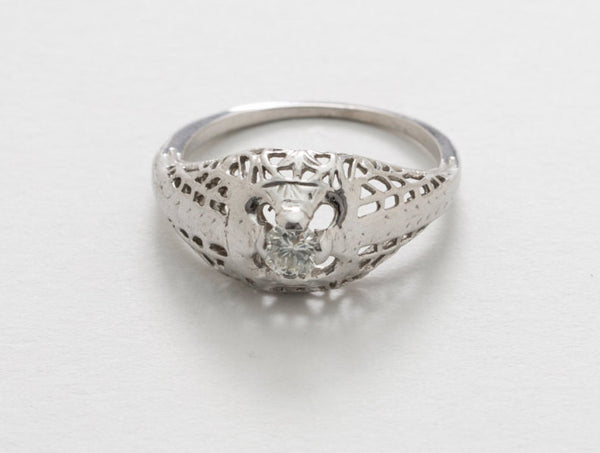 Filigree Styled Engagement Ring  14 kt White Gold Very Nice and Very Clean .18 Ct. Solitaire Diamond US Size 5.75 - 6