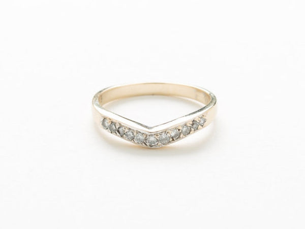 Curved Chevron Wedding Band 14 kt Yellow Gold and Diamond .15 Carat Worth of Nice Clean and Sparkly Diamonds US Size 6.25
