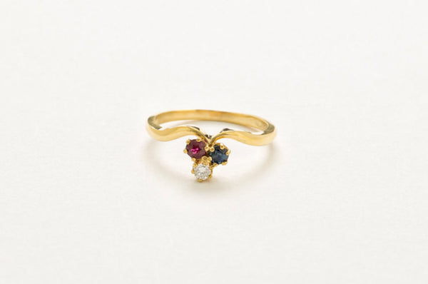 14 kt Yellow Gold 3 Stone Ring  Featuring 1 Diamond 1 Ruby and 1 Sapphire US Size 6.75 - Perfect for a Holiday, Birthday or Anniversary gift