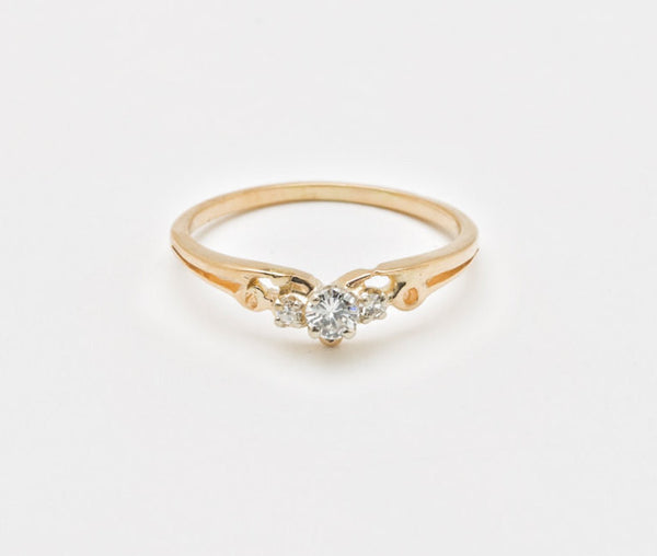 Estate Vintage 14 kt Yellow Gold Crown Engagement Ring .08 Carat Sparkly White Center Diamond US Size 6.75 - 7