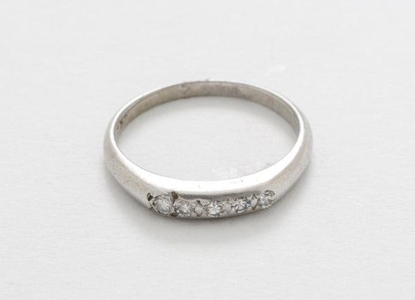 VERY AFFORDABLE - Estate Eternity/Anniversary Band 14kt White Gold Retro Design With 5 Very Clean and Very White VS - F/G Diamonds Size 6.5