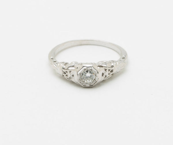 Art Deco Vintage Filigree Styled Solitaire Engagement Ring 14 kt White Gold .10 Ct. Very Clean and White Center Diamond US Size 6 - 6.25