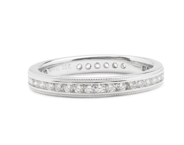 Vintage Art Deco Styled Stunning 18 kt White Gold Diamond Eternity Band .50 Carats Worth of Very Sparkly Clean White Diamonds US Size 6.5