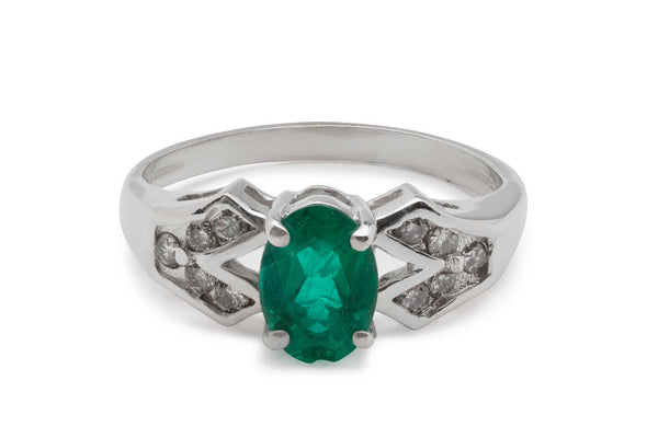 Estate Vintage 14kt White Gold Diamond and Natural Emerald Wedding or Engagement Ring also perfect for an Anniversary Surprise US Size 5