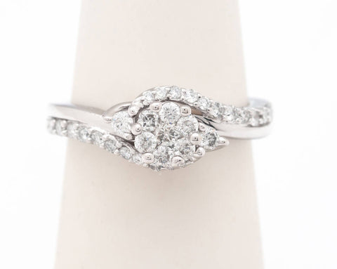 Estate Vintage 10 kt White Gold Cluster Diamond and Pave Setting Designed Ring  Perfect To propose with and/or to promise with US Size 5