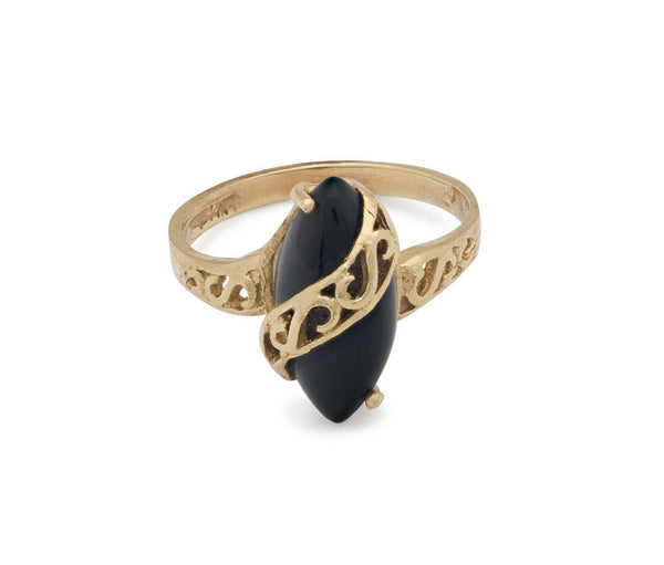 Estate Vintage 14 kt Yellow Gold 90's Styled Designer Filigree Ring With a large Black Center Stone - Perfect for a Holiday Gift US size 5.5