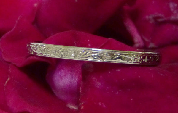 Antique Art Deco Styled Platinum Fully Engraved Wedding Bridal Band Ring
