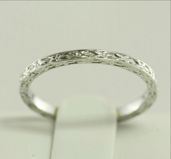 Thin Platinum Wedding Band  Antique Art Deco Styled Heavily Engraved Floral Designed 1 mm Wide US Size 6