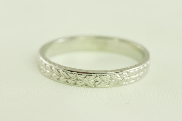 Wedding Band 14kt White Gold  Antique Art Deco Floral and Leaf Styled
