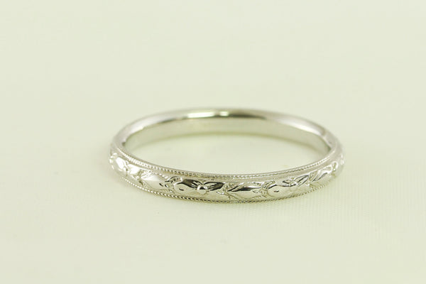Beautiful Wedding Band 14 kt White Gold with a Tulip Floral Antique Art Deco Design
