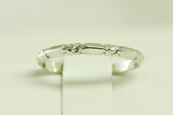 Super Buy - Platinum Wedding Band Antique Art Deco Floral and Bar Styled