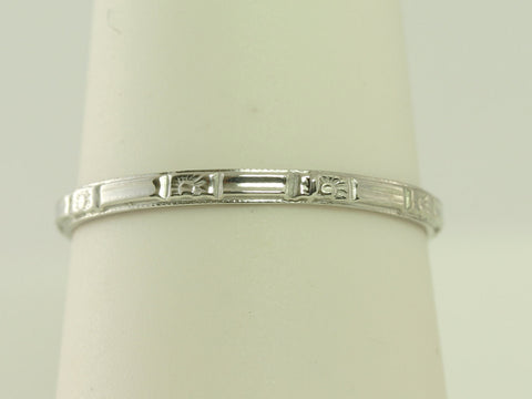 Super Buy - Platinum Antique Art Deco Floral and Bar Styled Wedding Band