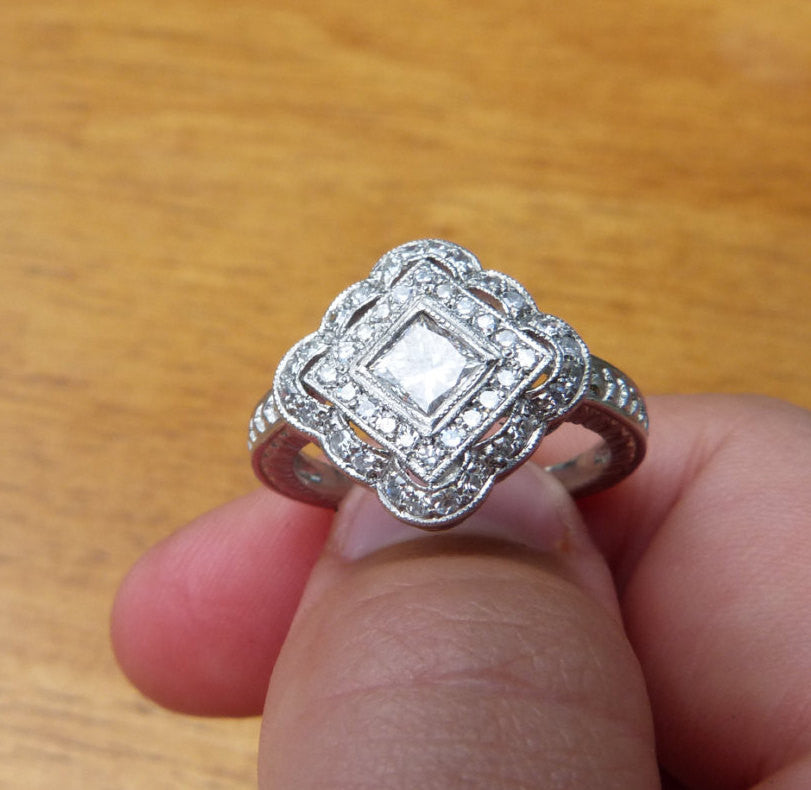 Art Deco Engagement Ring Stunning Filigree And Milgrain Styled