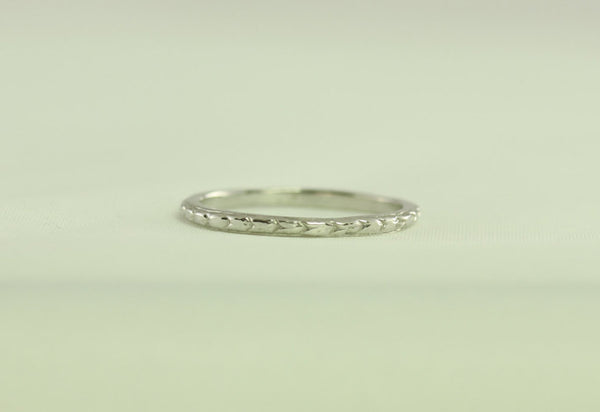 Thin Platinum Art Deco Antique Vintage Wheat Styled Wedding Band US Size 5.75