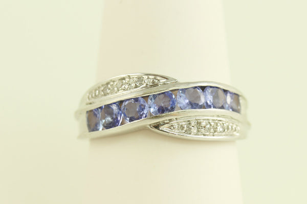 Estate 10kt White Gold Diamond and Amethyst Ring - Perfect for a Holiday, Birthday or Anniversary gift