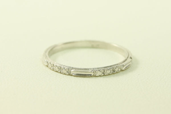 Sharp  Art Deco Floral and Bar Styled Platinum Wedding Band