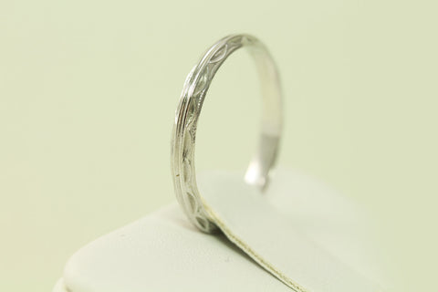 Antique Art Deco Double Line Styled 14kt White Gold Wedding Band/Ring