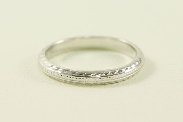 Antique Art Deco 14kt White Gold Dotted and Wheat Arrow Styled Wedding Band/Ring