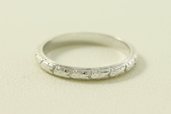 Art Deco Raised Floral and Box Styled 14kt White Gold Wedding Band/Ring