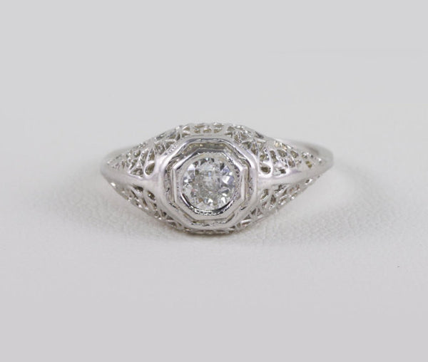 Vintage Engagement Ring Solitaire Art Deco Filigree Styled 14 kt White Gold .30 Ct. Very Nice Diamond Size 6.75
