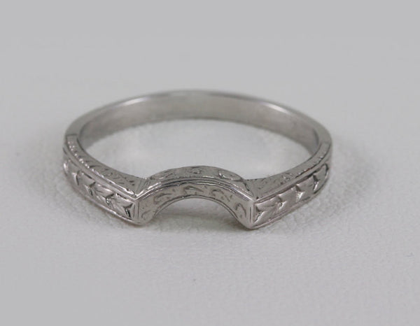 Art Deco Platinum Curved U - Shaped Wedding Bridal Band/Ring With a Stunning Wheat and Deco Styled Design