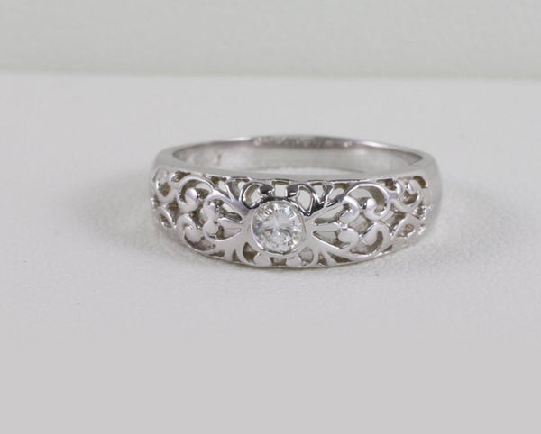 Affordable - Art Deco Engagement Ring Antique Filigree Styled 14kt White Gold Sparkly White .14 Ct Brilliant SI J Diamond US Size 6.5