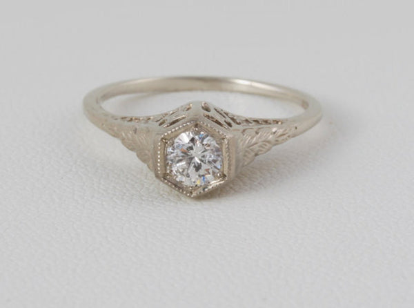 Art Deco Engagement Ring Filigree Styled 14 kt White Gold  .30 Ct. Solitaire Diamond US Size 6 - 6.25