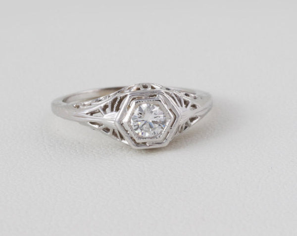 Filigree Engagement Ring Art Deco Hexagon Styled 14 kt White Gold Very Nice .29 Ct. Solitaire Diamond US Size 5.75 - 6