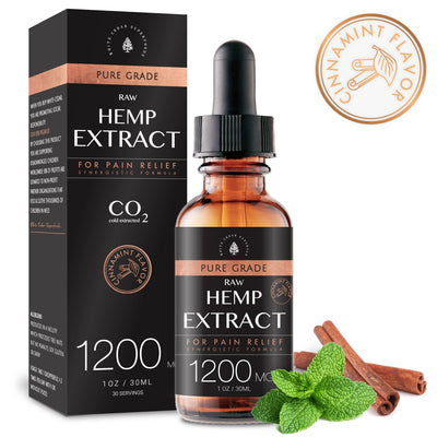 Organic Full-Spectrum Hemp Extract Oil. Cinnamint (1200MG) - White Cedar Naturals -  Hemp CBD oil for Pain Relief
