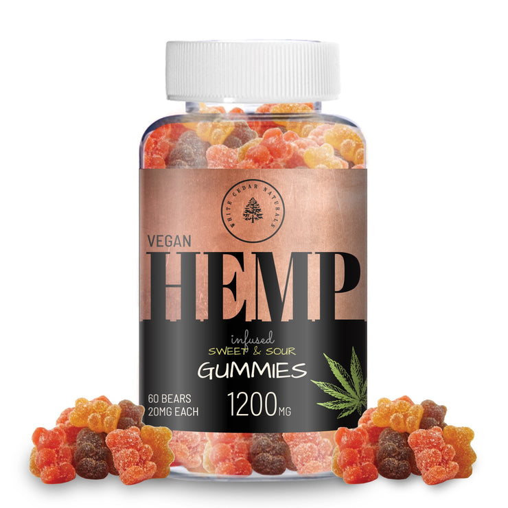Organic & Vegan Hemp Extract Gummies - 1200MG - White Cedar Naturals -  Hemp CBD oil for Pain Relief