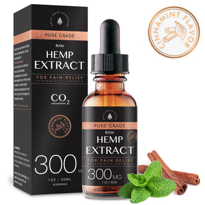 Organic Full-Spectrum Hemp Extract Oil. Cinnamint (300MG) - White Cedar Naturals -  Hemp CBD oil for Pain Relief