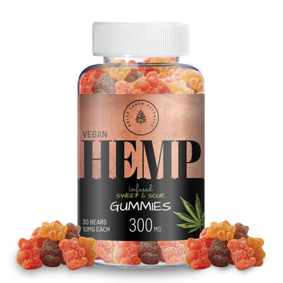 Organic & Vegan Hemp Extract Gummies - 300MG - White Cedar Naturals -  Hemp CBD oil for Pain Relief