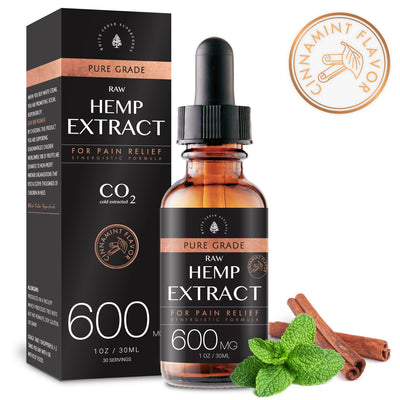 Organic Full-Spectrum Hemp Extract Oil. Cinnamint (600MG) - White Cedar Naturals -  Hemp CBD oil for Pain Relief