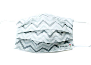 Gray Chevron Flannel Face Mask