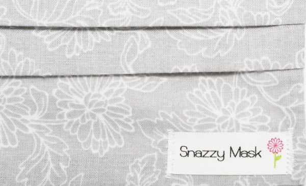 Gray & White Floral - Designer Surgical Mask