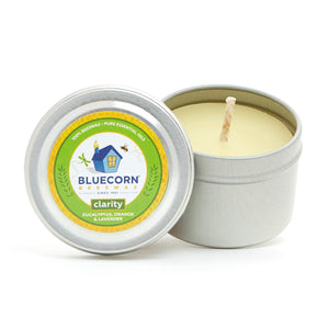 Beeswax Candle Travel Tin - Aromatherapy Candle - Clarity Scent