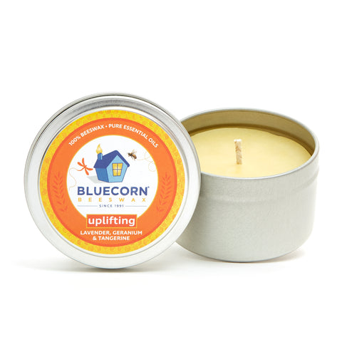 Beeswax Candle Travel Tin - Aromatherapy Candle - Uplifting Scent