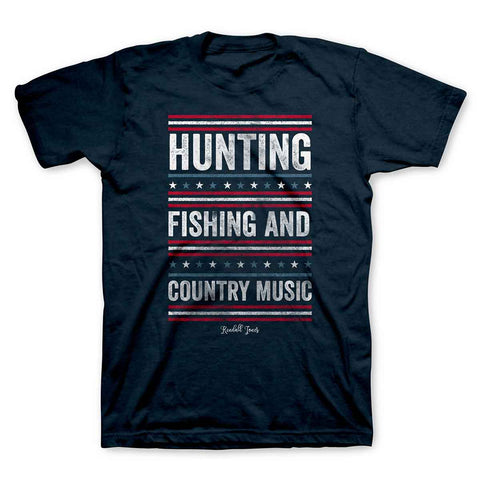 Hunting Fishing And Country Music - KJ Adult T-Shirt