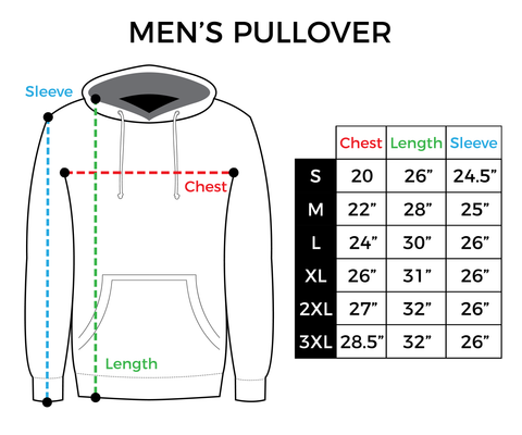 Size Chart Mens Pullover