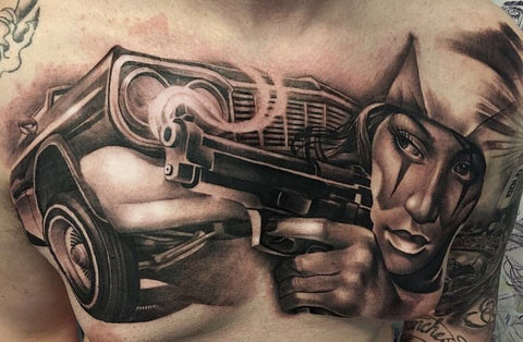 tattoos for men, tattoo ideas, black and grey tattoo, chest tattoo, car tattoo, lady head tattoo