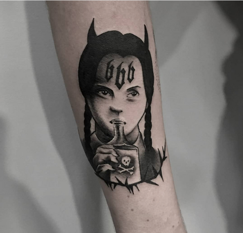 wednesday addams halloween tattoo