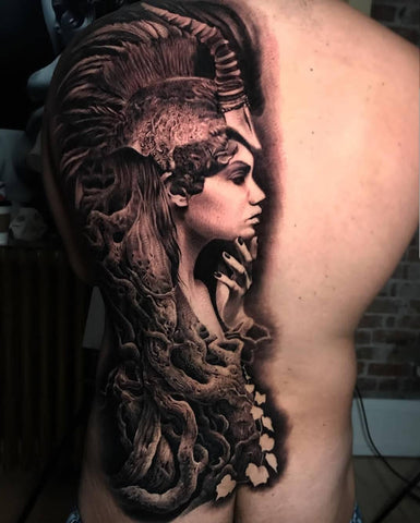 tattoos for men, tattoo ideas, black and grey tattoo, back tattoo, animal tattoo, lady head tattoo
