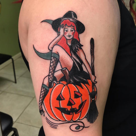 pinup witch halloween tattoo