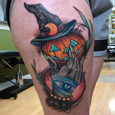 pumpkin witch halloween tattoo